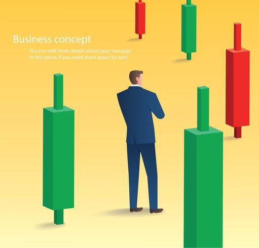 homme d'affaires permanent avec fond de graphique en chandelier, concept de marché boursier, illustration vectorielle