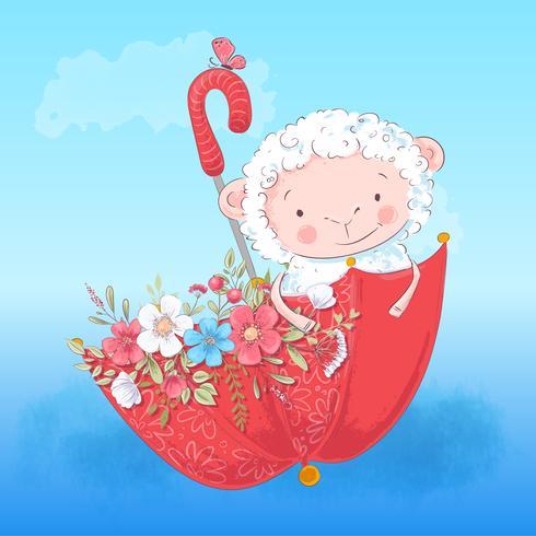 Cartel lindo cordero paraguas y flores. Ilustracion vectorial Estilo de dibujos animados