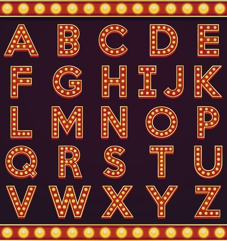 Letter alphabet sign marquee light bulb vintage carnival or circus style vector