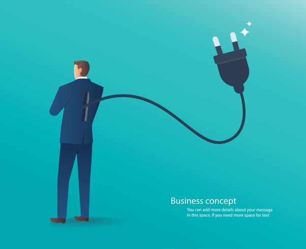 empresário de pé com plugue elétrico nas costas, conectar-se a ilustração vetorial de idéia