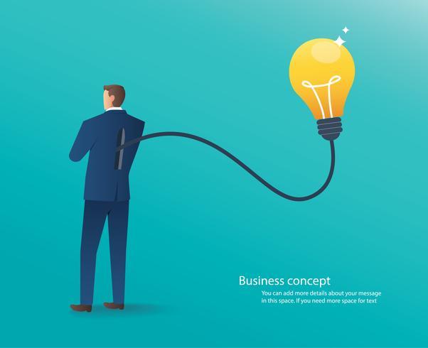 Geschäftsmann, der mit Glühlampe, Konzept der kreativen denkenden Vektorillustration steht