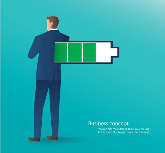 business concept of businessman standing with full battery vector illustration