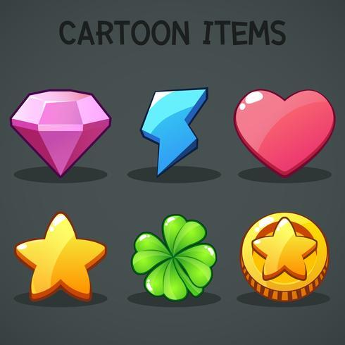 Itens de desenhos animados Símbolos diferentes ativos Elementos GUI para jogos móveis casuais