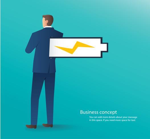 concetto di affari dell'uomo d'affari che sta con l'illustrazione di vettore della batteria piena