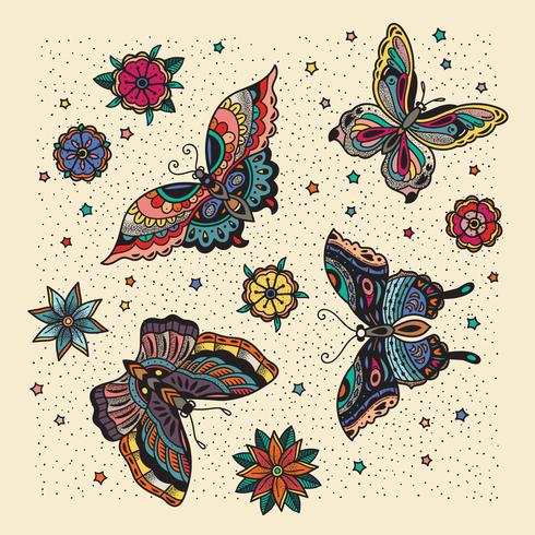 Butterfly pattern with cream background