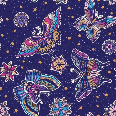Fjärilmönster med blå bakgrund