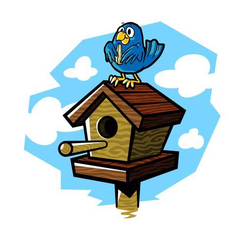 Ilustración de dibujos animados lindo pájaro de madera casa vector