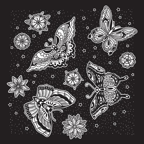 Motif papillon avec fond noir