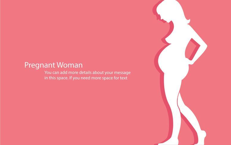 gravid kvinna med rosa bakgrund vektor illustration