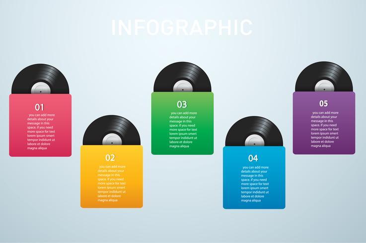 Disco de vinilo con vector de fondo de portada infografía maqueta