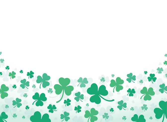 illustration vectorielle de mignon trèfle vert feuille fond