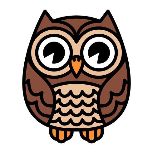Netter Karikatur Owl Bird mit großen Augen in sitzender Position