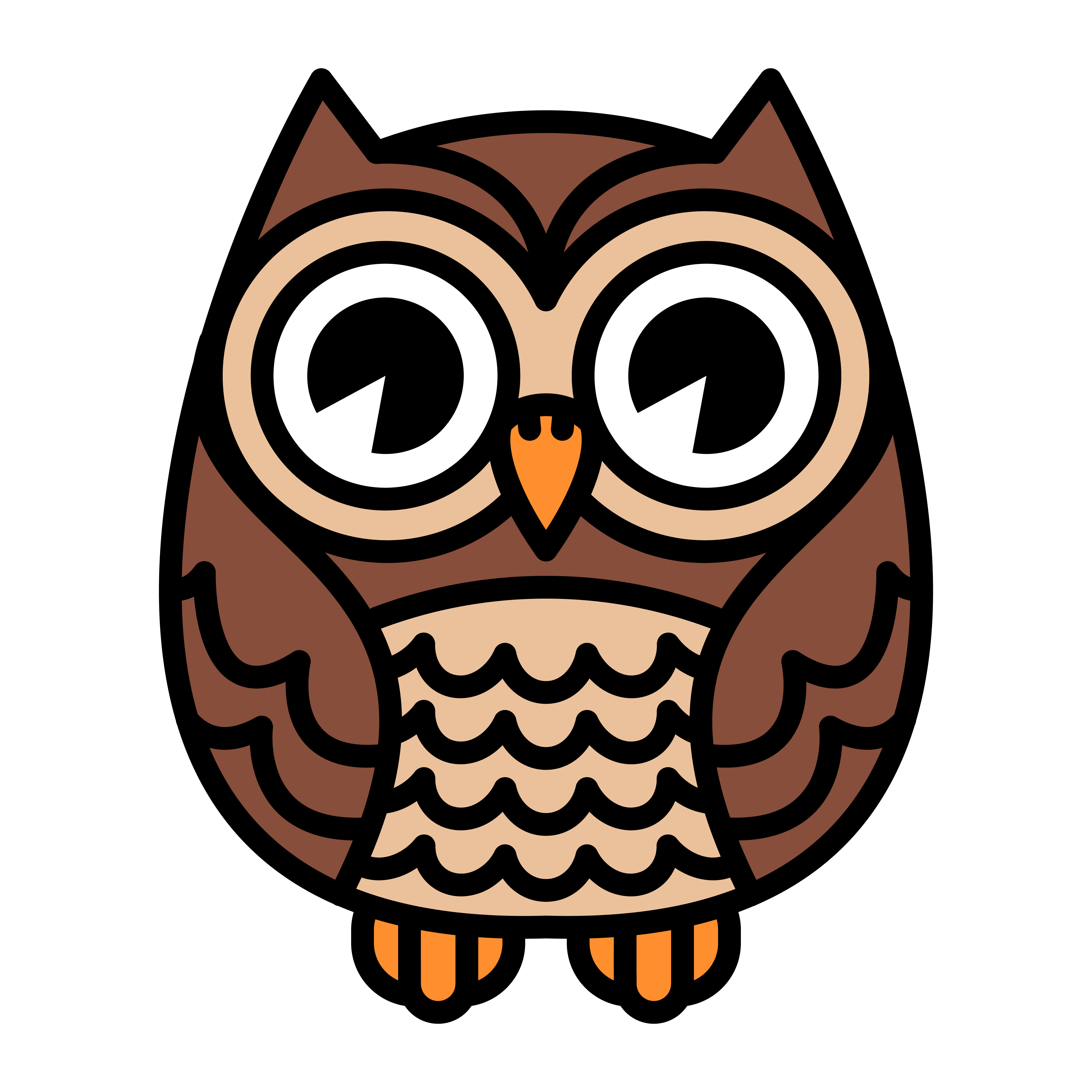 Cute Cartoon Owl Bird with Big Eyes in Sitting Position ...