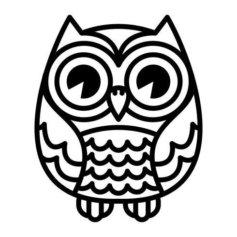 Pássaro de coruja bonito dos desenhos animados com grandes olhos na posição sentada