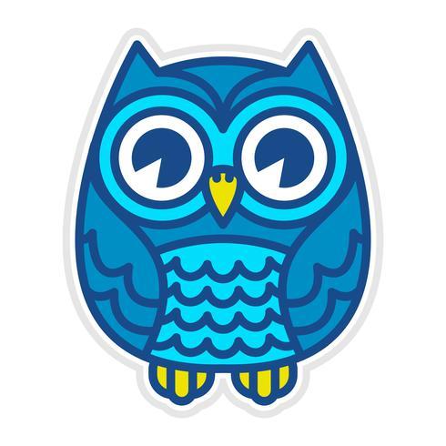 Gullig Cartoon Owl Bird med stora ögon i sittande position