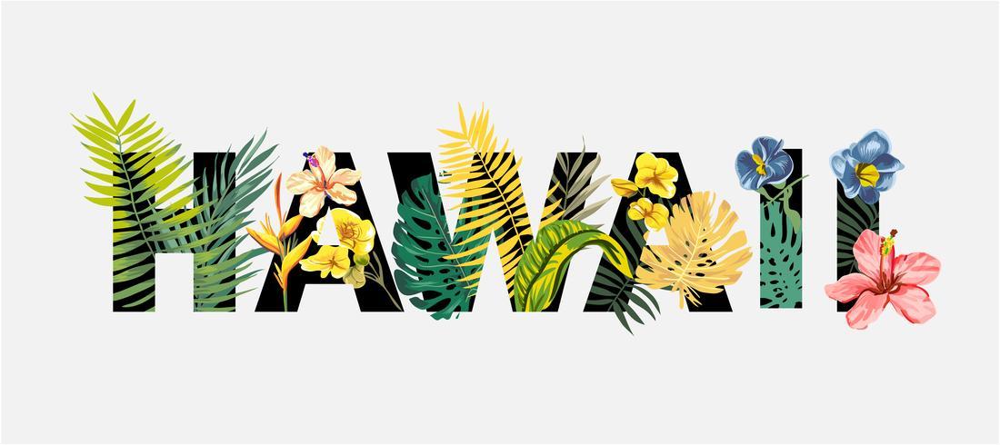 Hawaii Sloagn mit tropischen Blumen und exotischen Baum Illustration