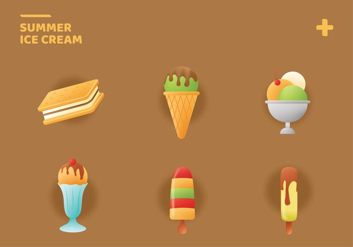 Smmer Ice Cream Icons Vector Pack