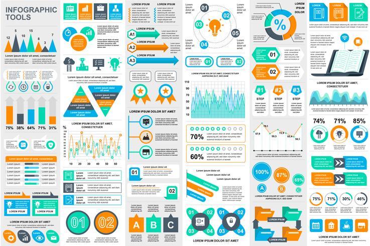 Modèle de conception infographique éléments visualisation de données vecteur. Peut être utilisé pour les étapes, les options, les processus métier, les flux de travail, les diagrammes, le concept d'organigramme, la chronologie, les icônes marketing et
