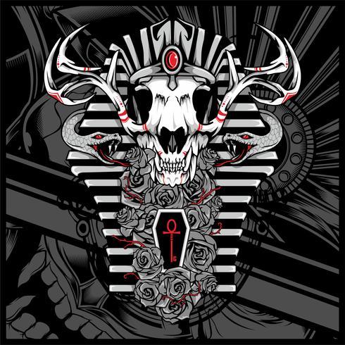 Anubis Dios de los muertos, con serpiente - Vector