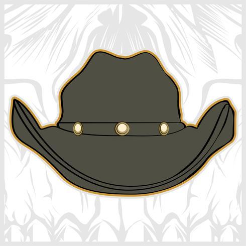 hat cowboy hand drawing vector