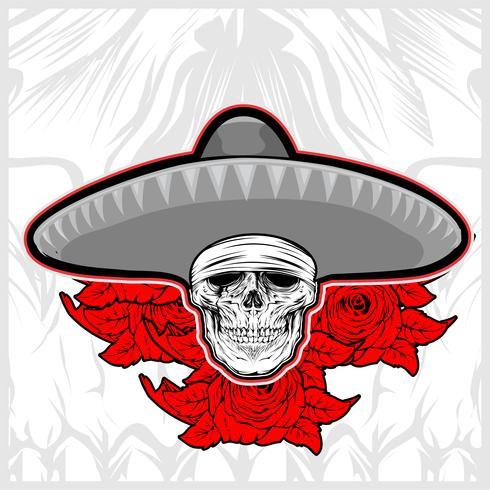 schedel dragen sombrero hoed mexico met roos