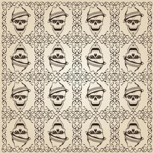 Ornamental Skull Pattern - Vector