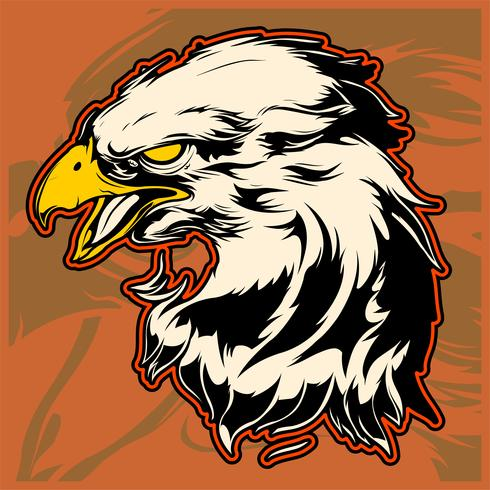 Jefe gráfico de una ilustración vectorial águila calva mascota