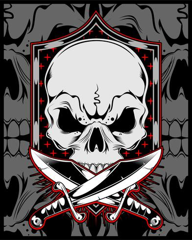 skull with cross sword.vector hand drawing
