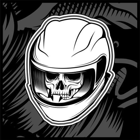 cráneo casco mano dibujo vectorial