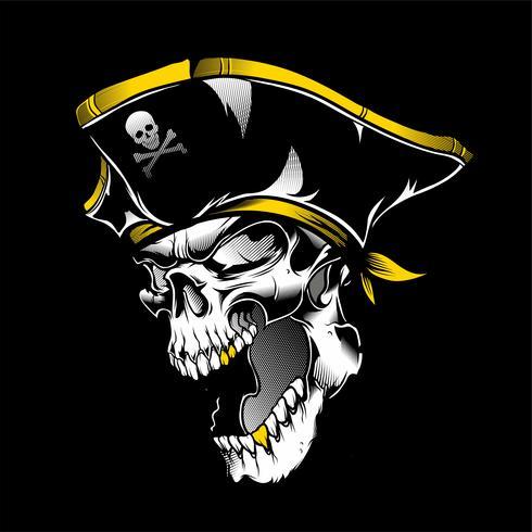 cráneo pirata mano dibujo vectorial