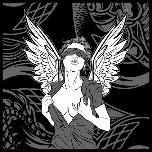 femmes ange avec aile main dessin vectoriel