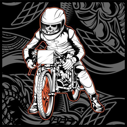 skull riding a motorcycle ready for the race
