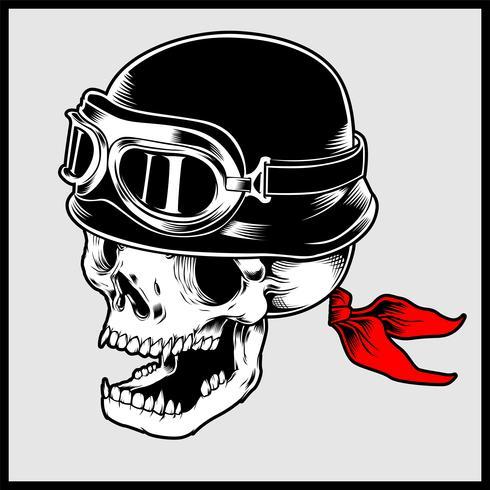 Ilustração retrô de vetor de cabeça de caveira de motociclista usando capacete de moto Vintage