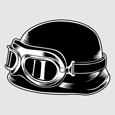 Retro vintage Helmet With Goggles.vector