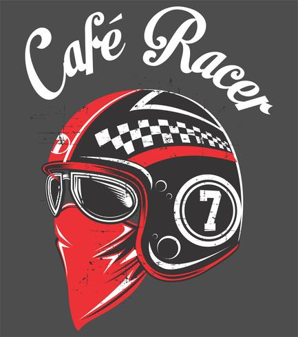 Motorcycle rider helmet,with tex cafe racer.vector hand drawing