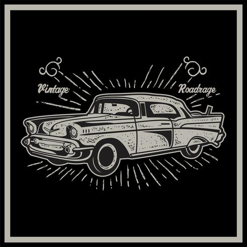 Vector illustration of vintage car. Retro car on black background - Vector