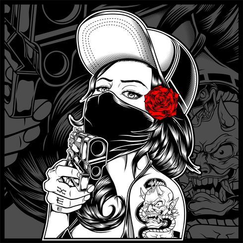 die Mafia Frau mit einer Waffe