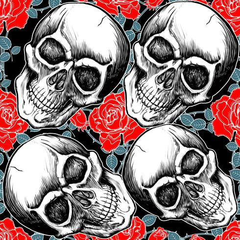 patroon schedel met roos