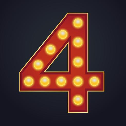 Carta número quatro alfabeto sinal letreiro vintage lâmpada