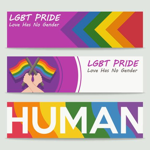 Lgbt pride banners in flat style vector