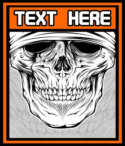 Illustrazione vettoriale di teschio dj. Disegno della camicia su sfondo scuro. Il testo è sul livello separato. - Vettore