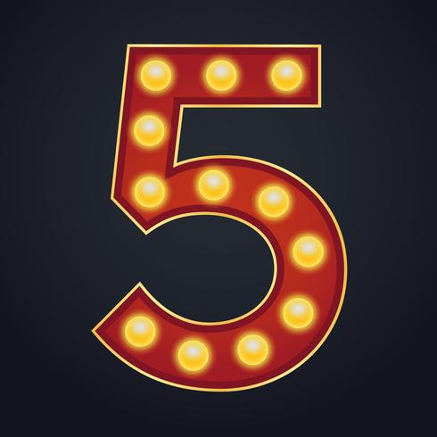 Carta número cinco alfabeto signo carpa bombilla vintage vector