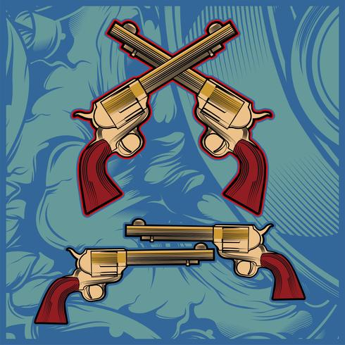 cross gun hand drawing vector