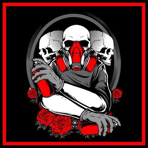 3 skull holding spray paint hand drawing vector