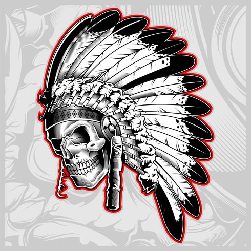 indian skull face illustration - Vector