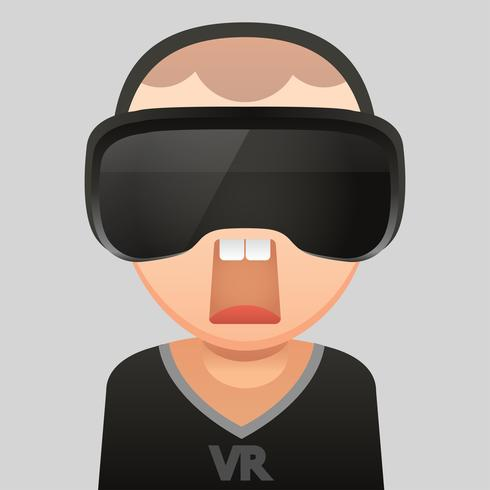 Virtual Reality glass headset ,Vector flat design