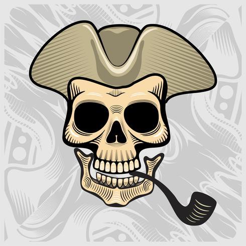 crânio usando um chapéu de fumar, vetor