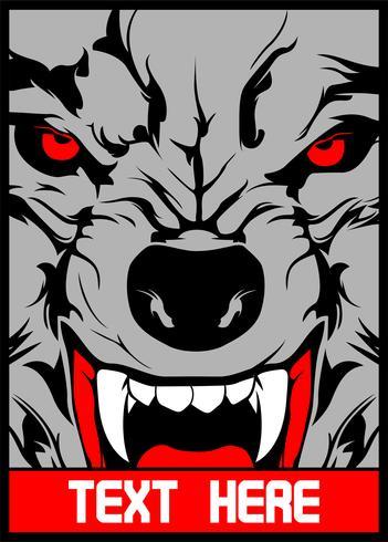 lobo de vetor com dentes pontiagudos