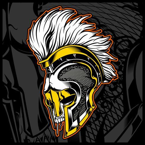 cabeza de cráneo con vector de gladiador casco
