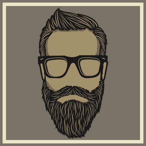 vintage een dikke bebaarde man bril vector dragen